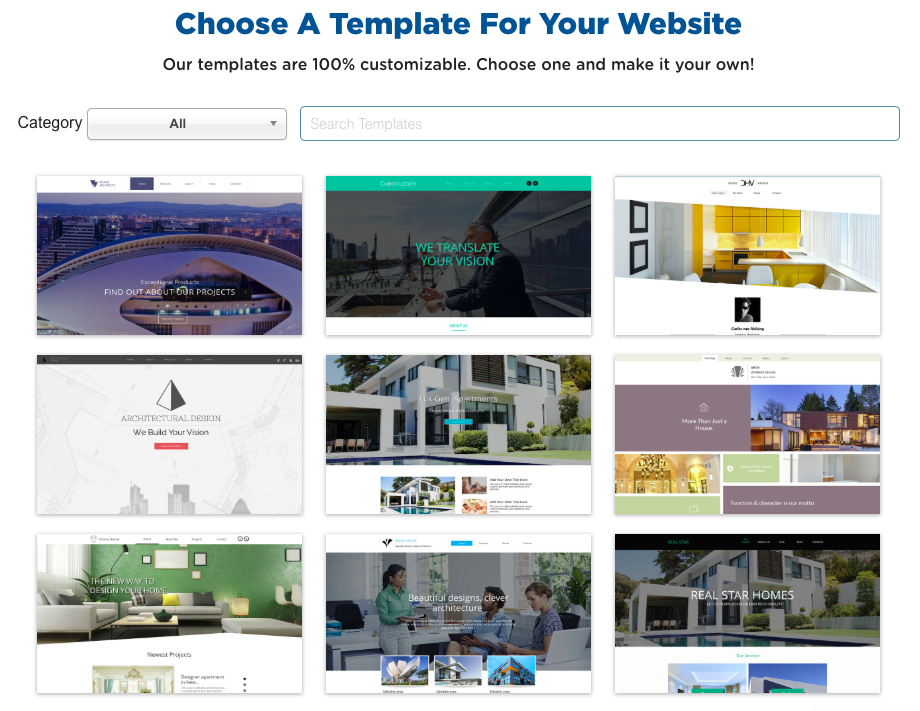 choose website builder template